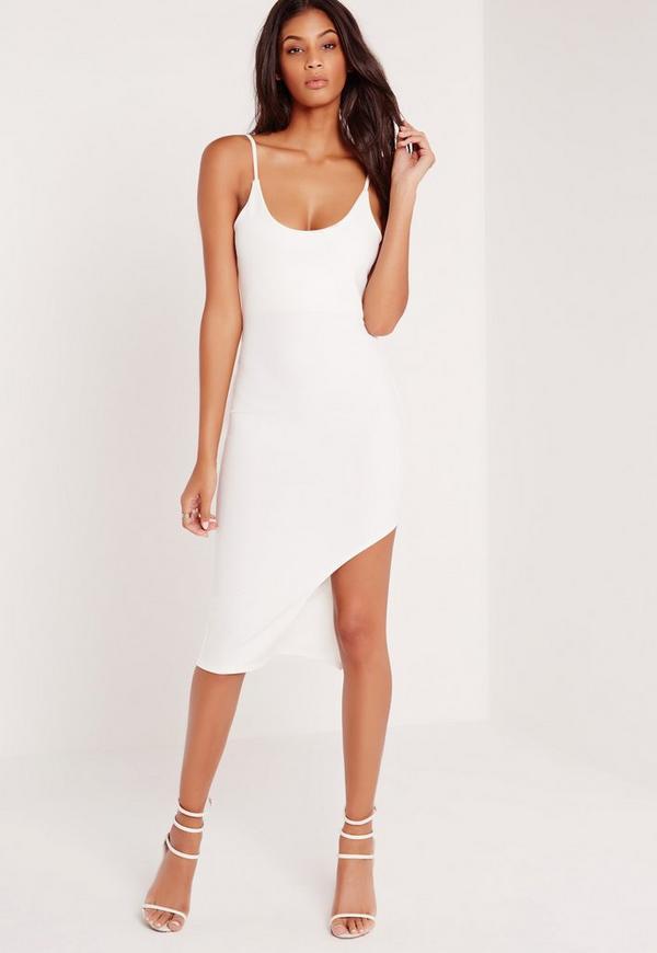 Strap Hem Detail Mini Dress White