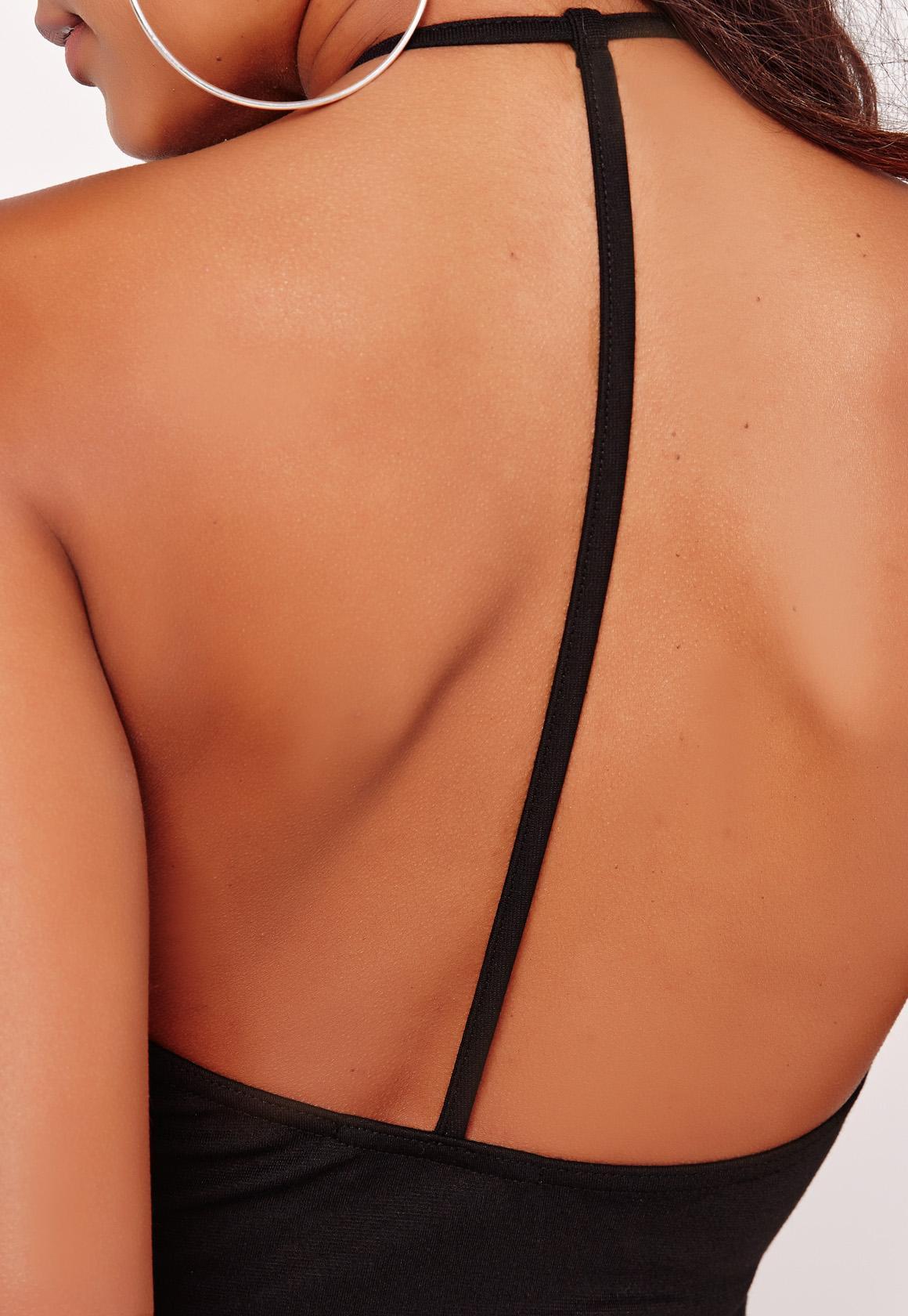 T-Bar Back Ponte Bodycon Dress Black