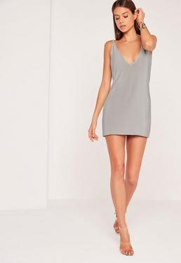 Strappy Back Slinky Shift Dress Silver