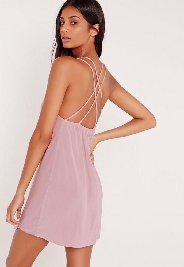 Double Strap Extreme Plunge Shift Dress Lilac