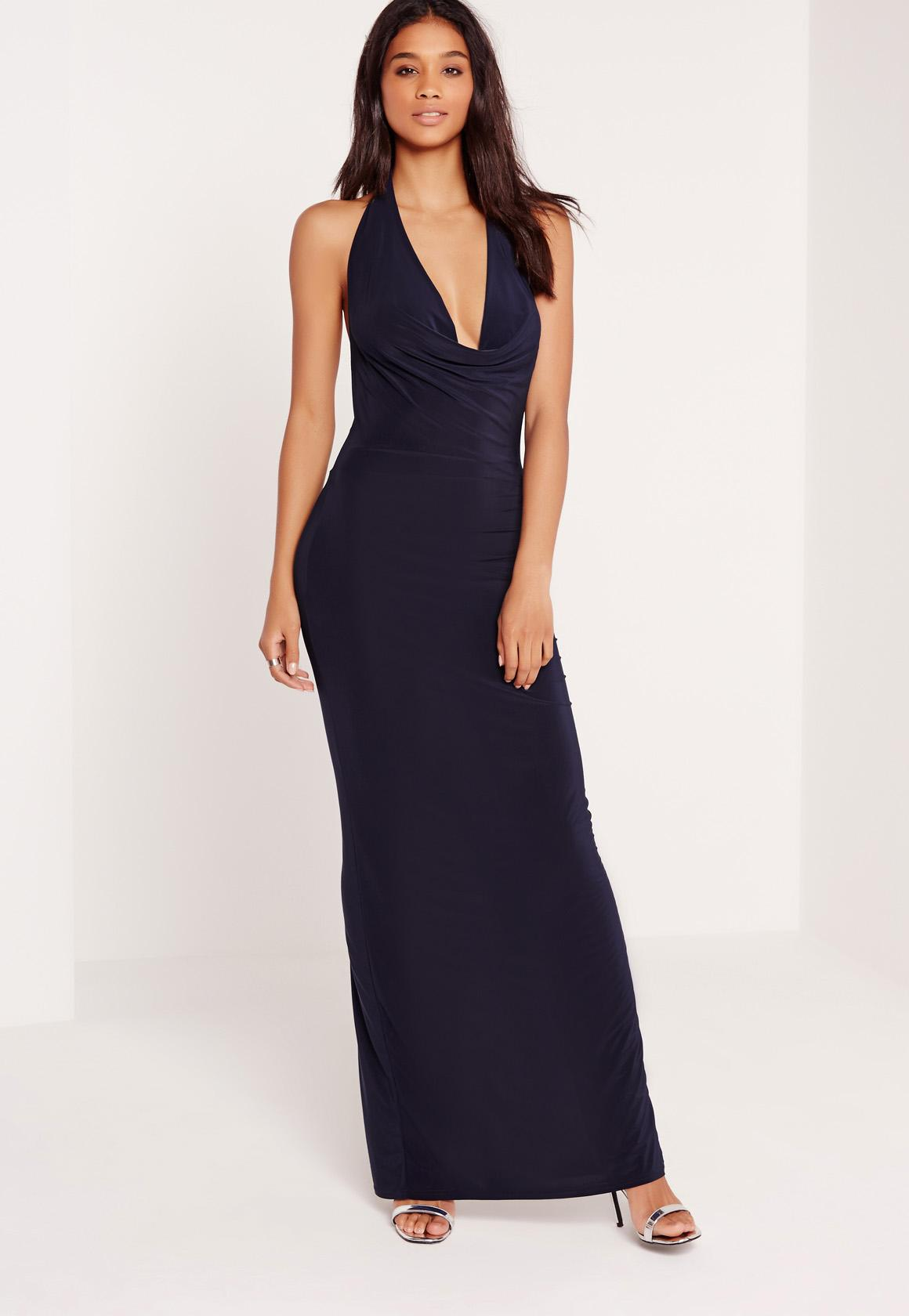 Slinky Cowl Halterneck Maxi Dress Navy | Missguided