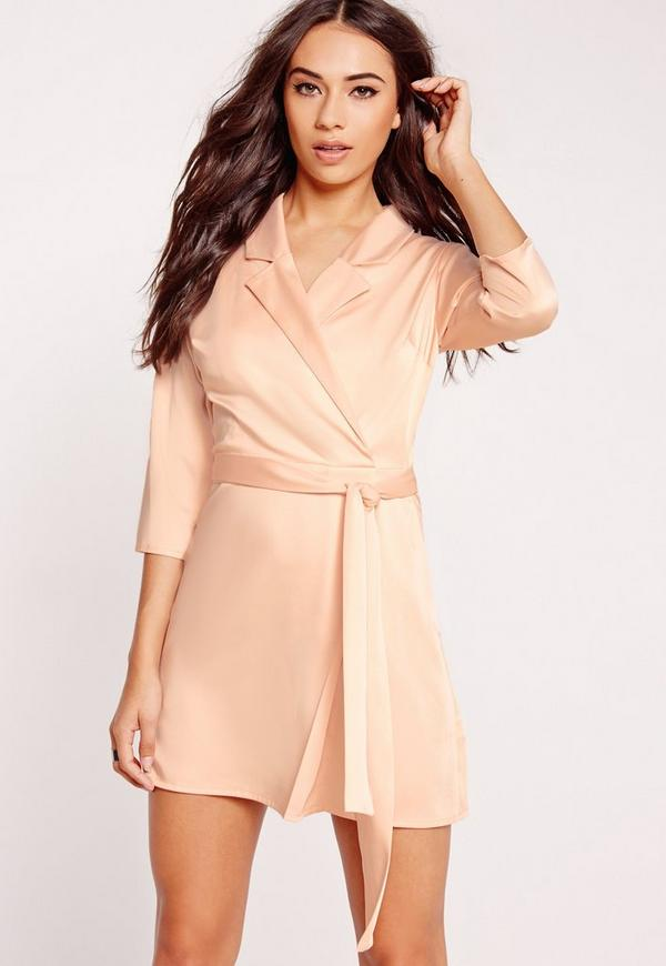 Silky Wrap Blazer Dress Nude