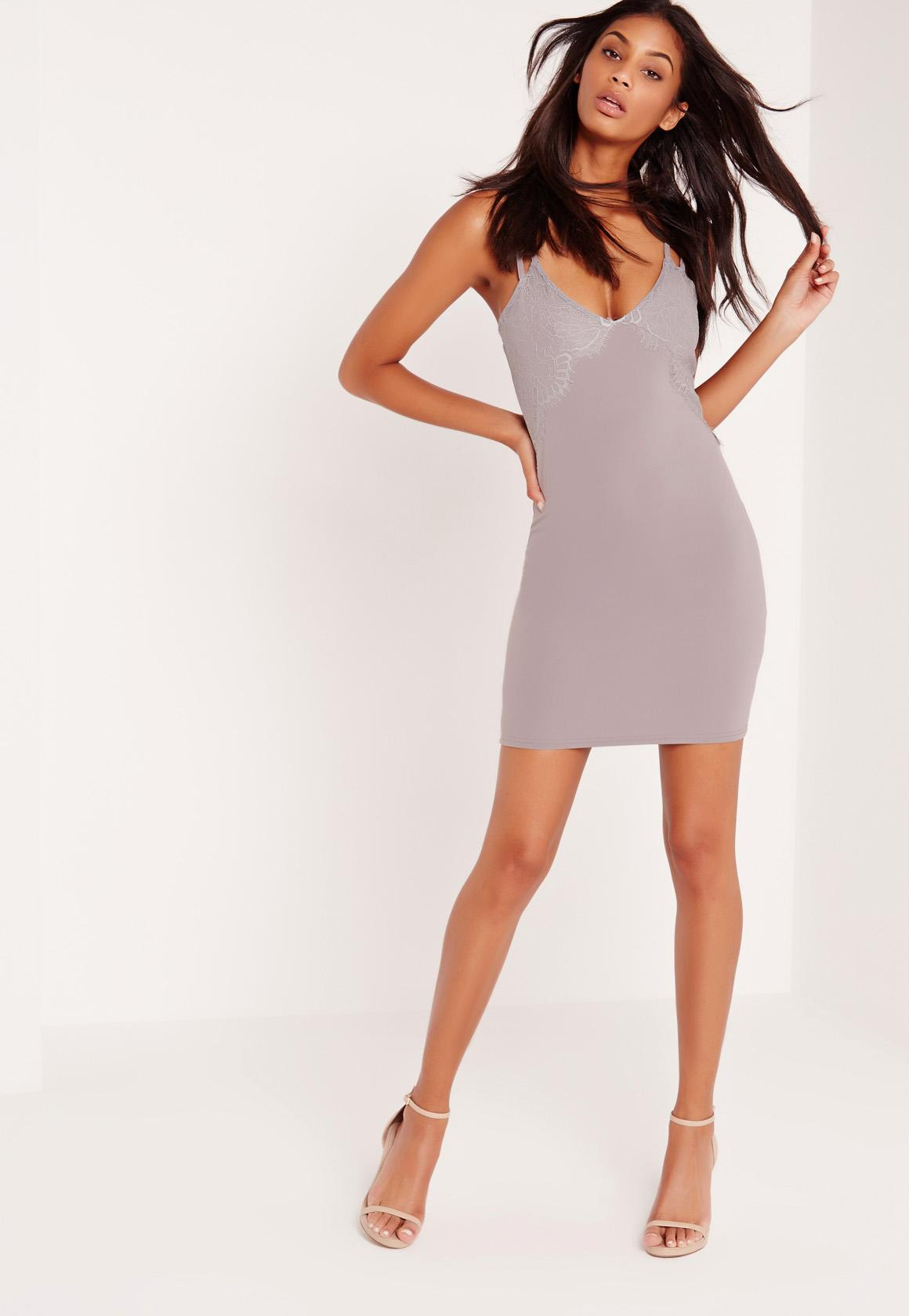 Double Strap Lace Insert Bodycon Dress Grey