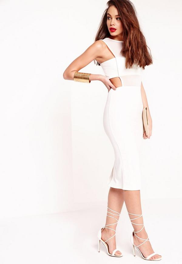 Crepe Sleeveless Cut Out Midi Dress White