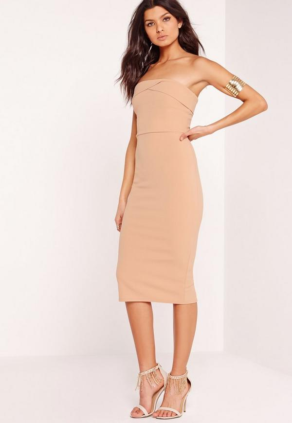 Layered Bandeau Midi Dress Nude