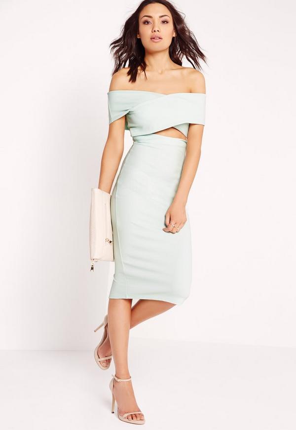 Cut Out Bardot Midi Dress Mint