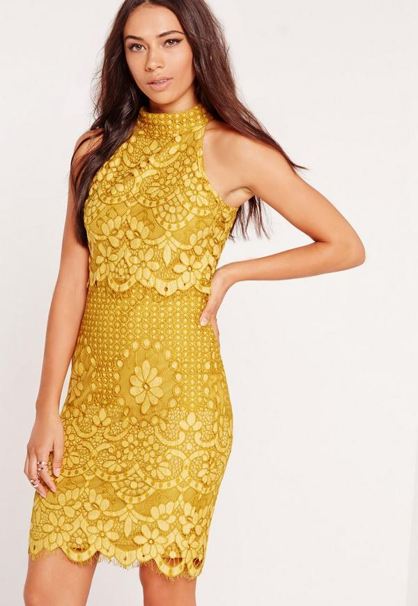 High Neck Floral Layer Dress Yellow