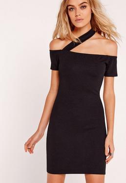 Bardot Cross Strap Crepe Bodycon Dress Black