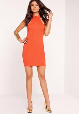 Jersey Halterneck Bodycon Dress Orange