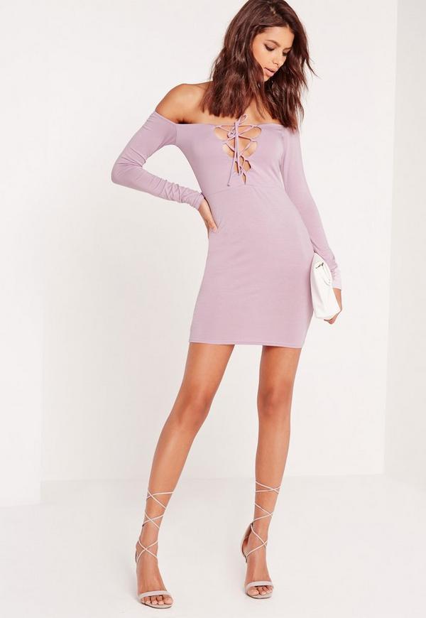 Lace Up Bardot Bodycon Dress Lilac