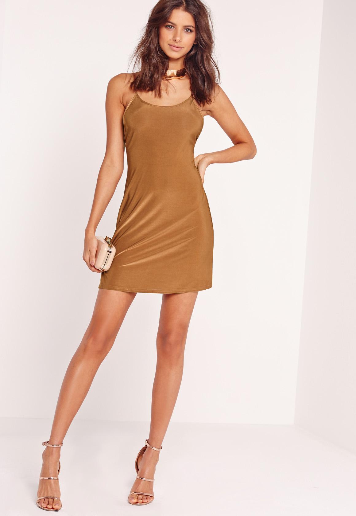 Strappy Slinky Skater Dress Brown