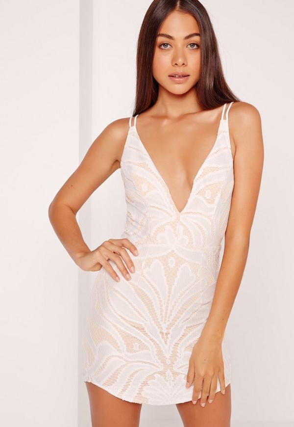 Strappy Plunge Lace Contrast Bodycon Dress White