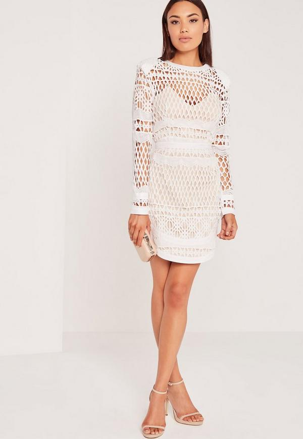 Long Sleeve Lace Bodycon Dress White | Missguided Australia