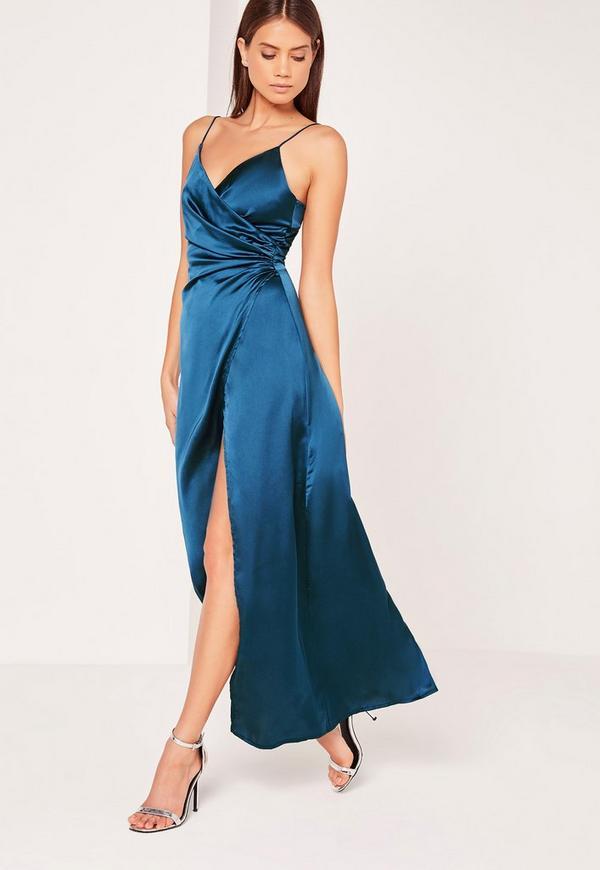 Silky Wrap Over Maxi Dress Blue