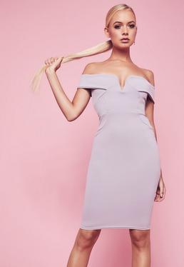 Szara sukienka bardotka z dekoltem w serek