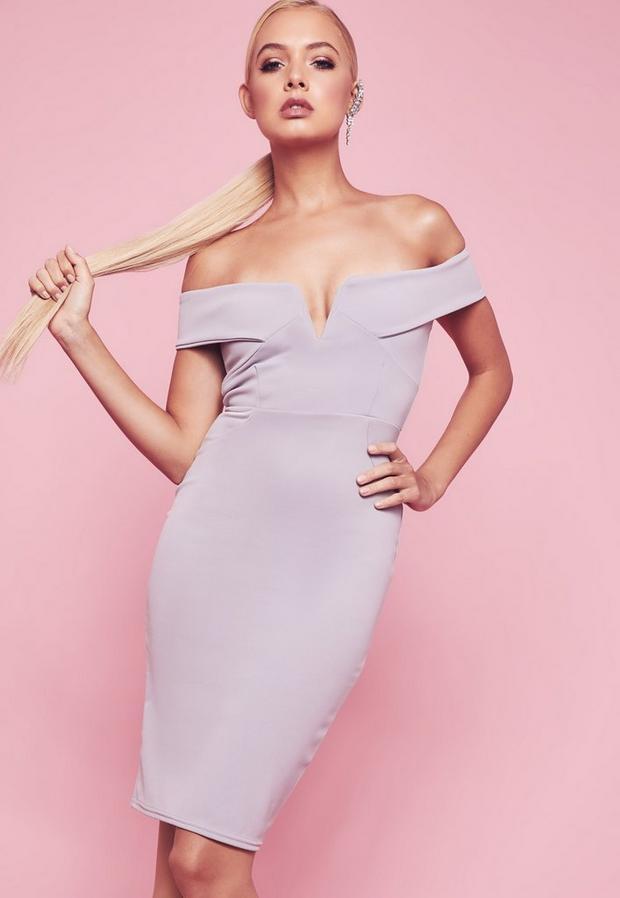 Missguided - V Front Bardot Bodycon Midi Dress - 2