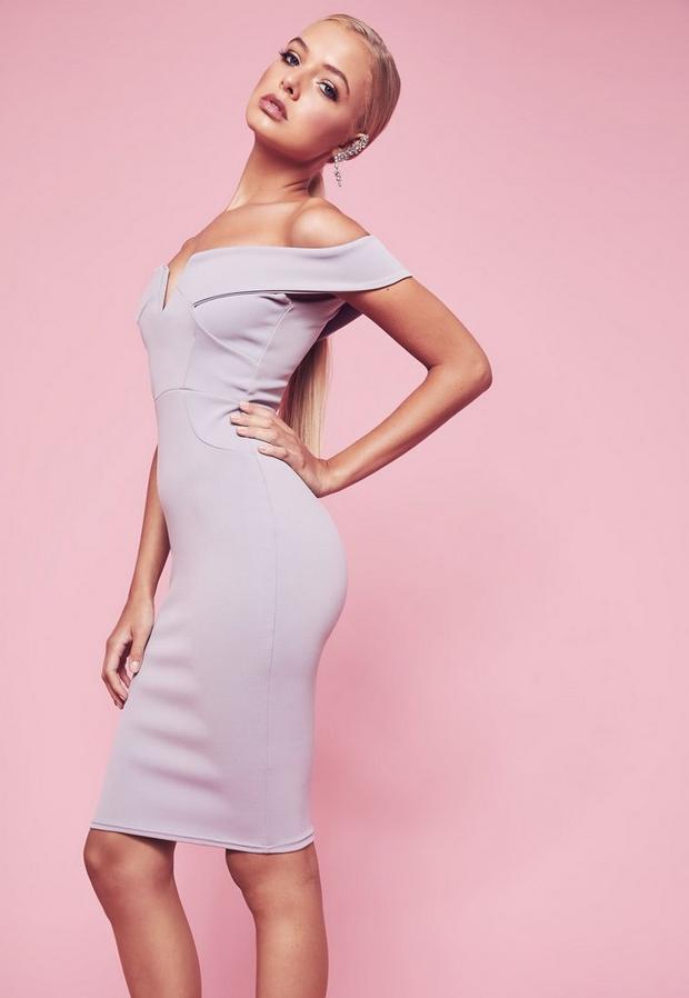 Missguided - V Front Bardot Bodycon Midi Dress - 3