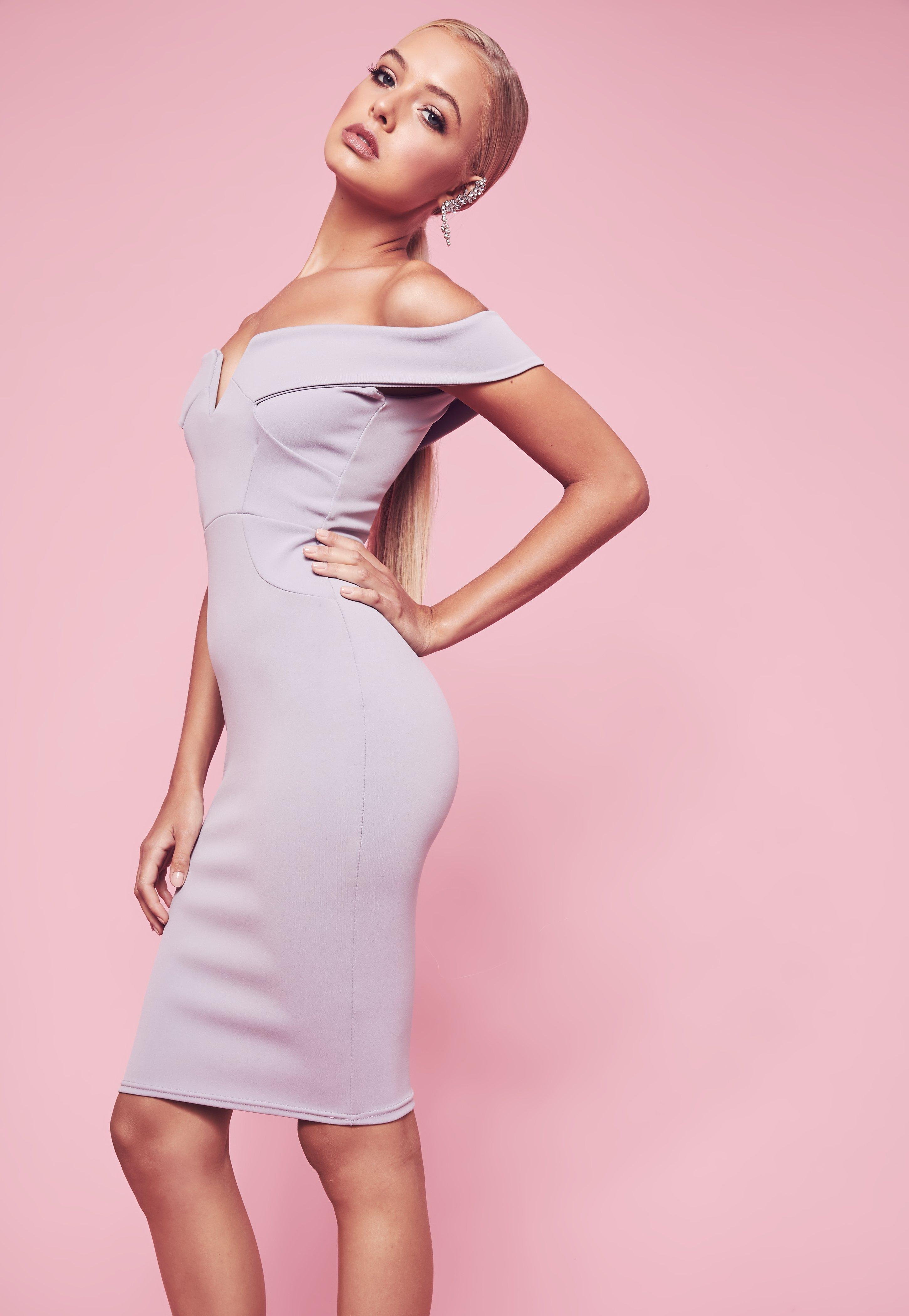 V Front Bardot Midi Dress Grey