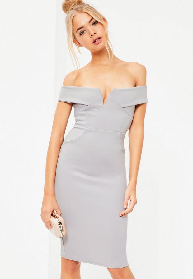 Missguided - V Front Bardot Bodycon Midi Dress - 4