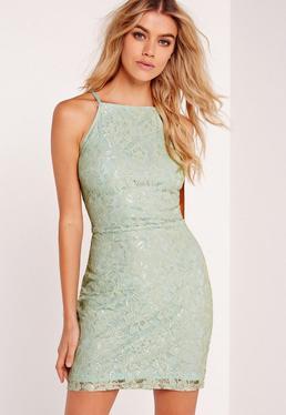 Lace Square Neck Bodycon Dress Green