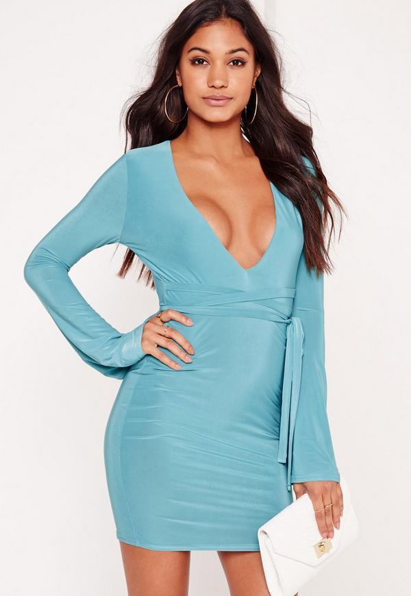 Slinky Plunge Tie Waist Bodycon Dress Blue