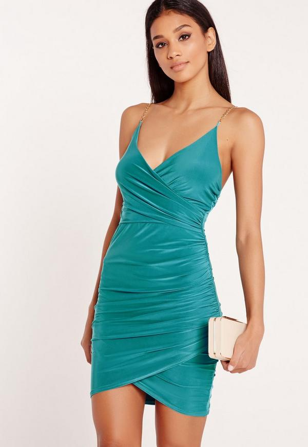 Chain Strap Ruched Bodycon Dress Teal