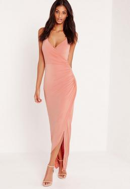 Chain Strap Ruched Back Maxi Dress Pink