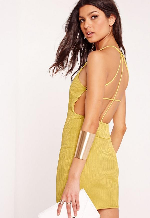 Strappy Ribbed Bodycon Dress Green