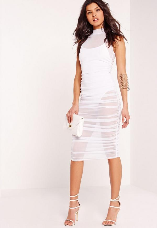 Mesh High Neck Ruched Midi Dress White