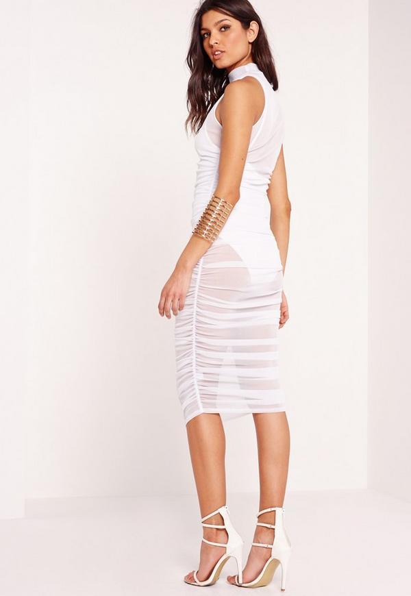 ad167e9680d56 Mesh High Neck Ruched Midi Dress White