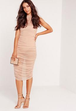 Mesh High Neck Ruched Midi Dress Nude