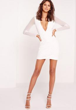 Plunge Faux Leather Trim Bodycon Dress White