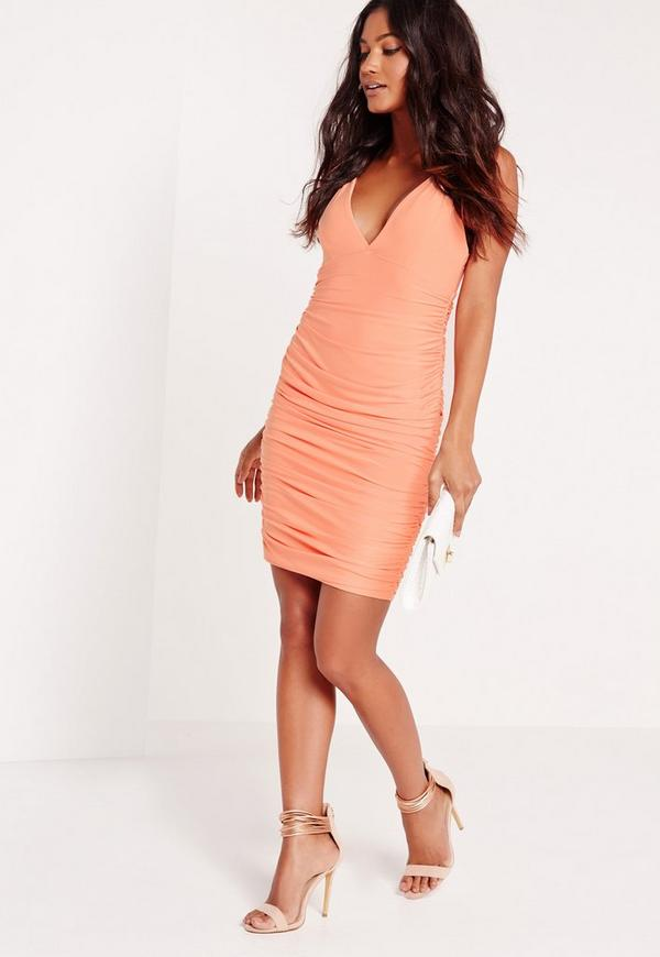 Slinky Strappy Ruched Bodycon Dress Nude