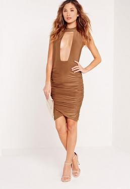 High Neck Cut Out Ruched Midi Dress Toffee