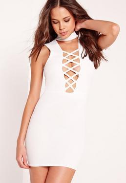 Choker Criss Cross Bodycon Dress White