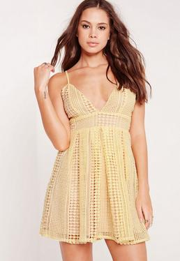 Strappy Crochet Lace Skater Dress Yellow