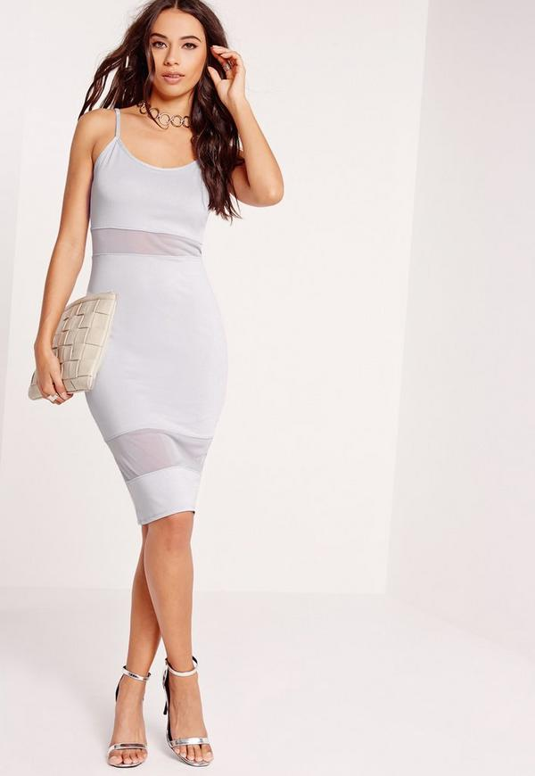 Strappy Mesh Bodycon Dress Grey