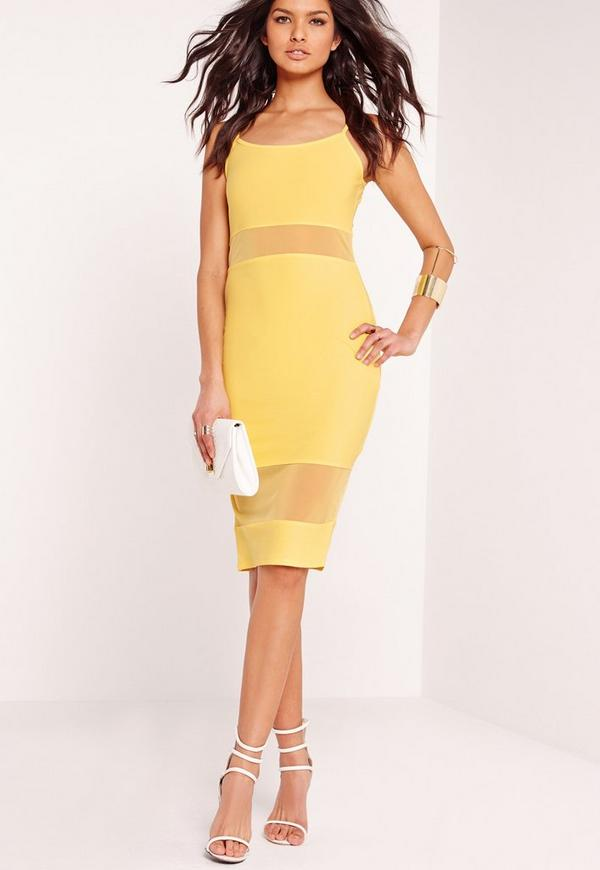 Strappy Mesh Insert Bodycon Dress Yellow