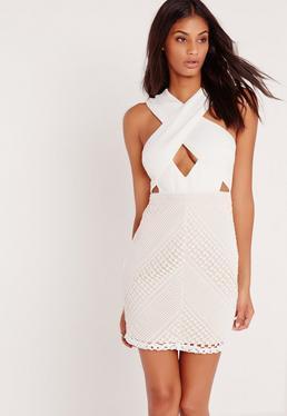 Premium Cross Front Lace Bodycon Dress White