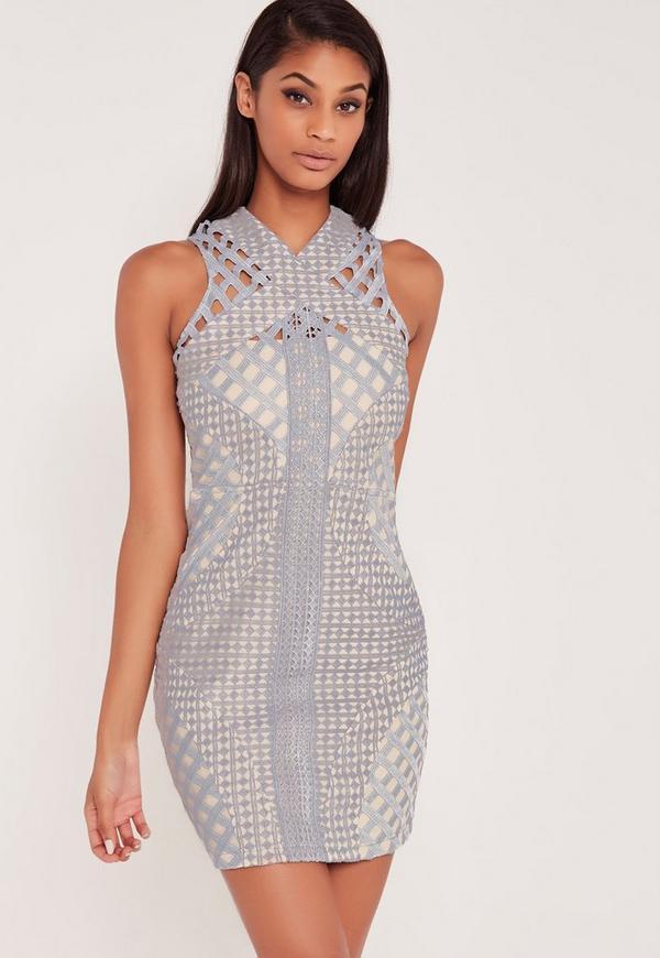 Carli Bybel Lace Cut Out Cross Neck Bodycon Dress Grey
