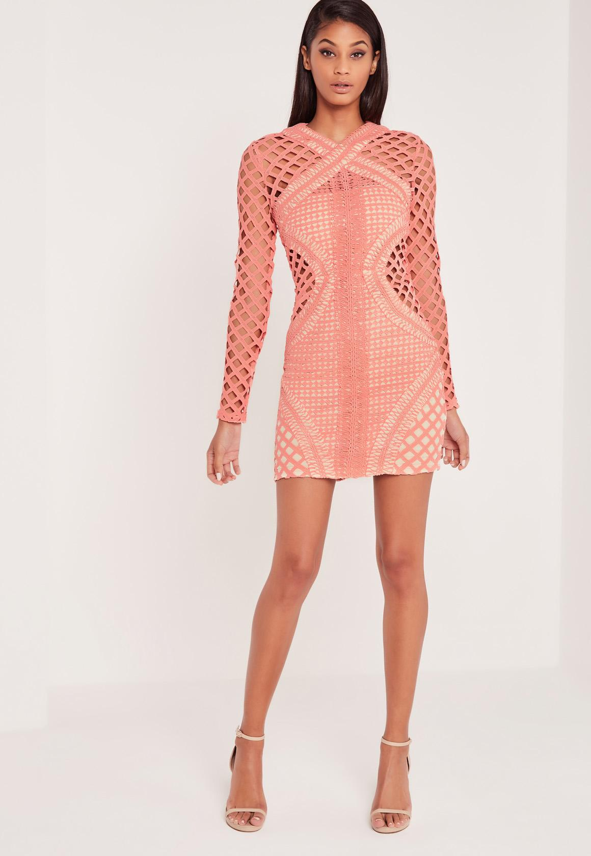 Carli Bybel Long Sleeve Lace Cut Out Bodycon Dress Pink | Missguided