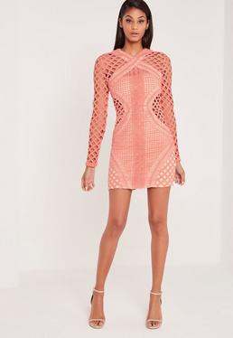 Carli Bybel Long Sleeve Lace Cut Out Bodycon Dress Pink