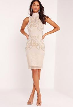 Premium Sleeveless Beaded Bodycon Dress Nude