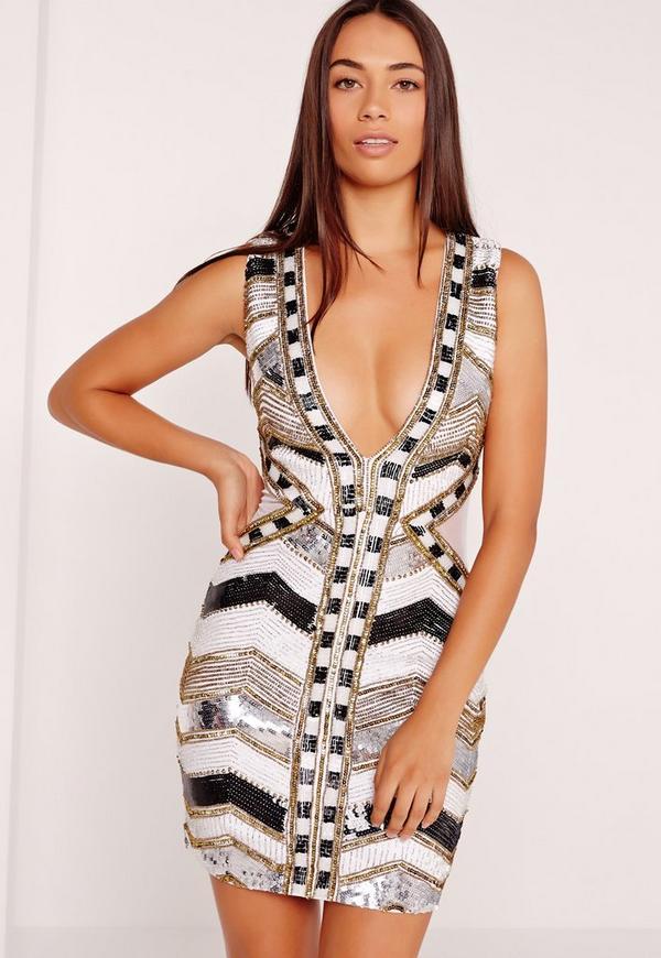 Premium Sleeveless Sequin Embellished Bodycon Dress White