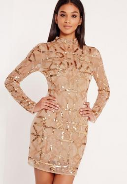 Premium High Neck Sequin Embellished Bodycon Dress Gold