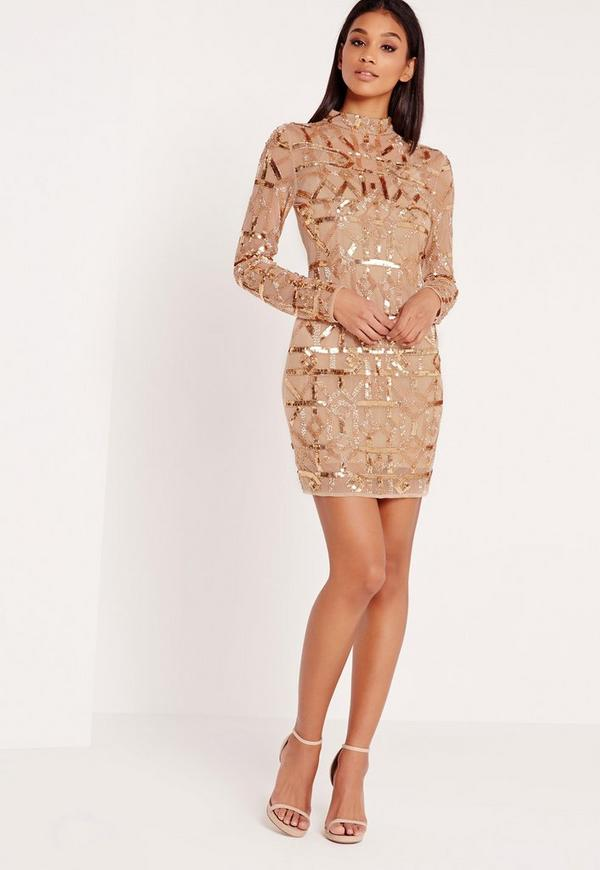 Premium High Neck Sequin Embellished Bodycon Dress Gold | Missguided