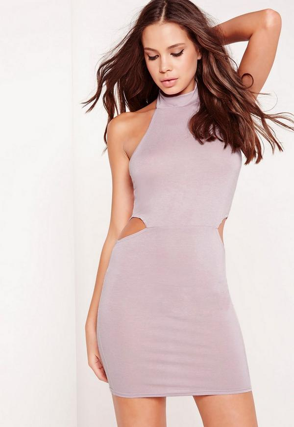 Cut Out Jersey Halter Neck Dress Lilac