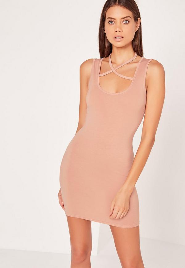 Halterneck Harness Bodycon Dress Nude