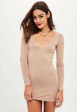 Plunge Long Sleeve Bodycon Dress Nude