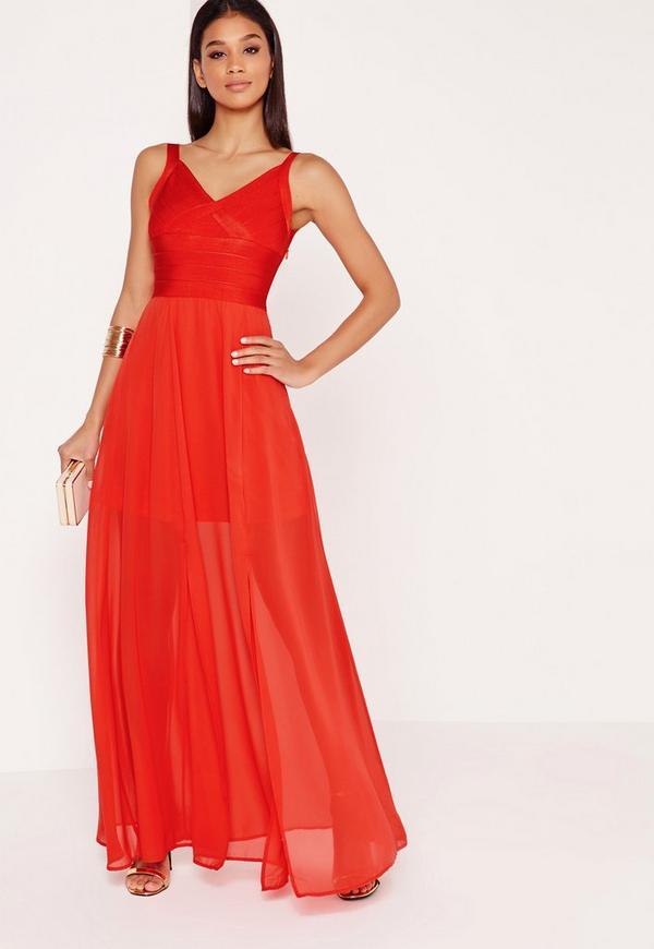 Premium Bandage Strappy Maxi Dress Red